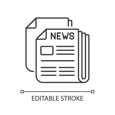 Newspaper linear icon. Mass media, postal service, journalism thin line customizable illustration. Daily paper delivery. Contour symbol. Vector isolated outline drawing. Editable stroke Ilustración de vector