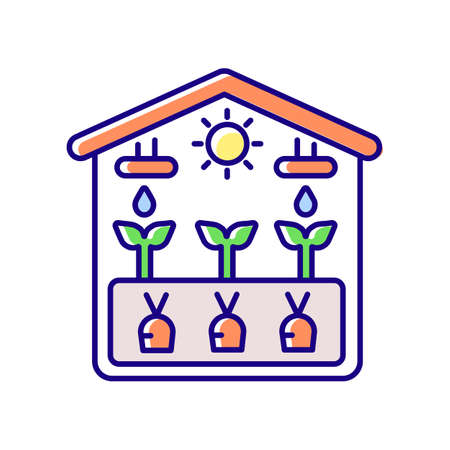 Greenhouse RGB color icon. Crop from glasshouse. Harvest in hothouse. Professional gardening structure. Cultivate vegetables. Agricultural business system. Isolated vector illustration