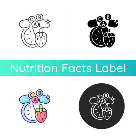 Vitamins and minerals icon. Pharmaceutical supplement for dietary. Fruit for healthy eating. Medical pill and drug for diet. Linear black and RGB color styles. Isolated vector illustrations