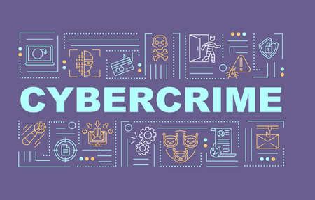 Cybercrime word concepts banner. Cyber attack. Sustem breaking. Infographics with linear icons on purple background. Isolated typography. Vector outline RGB color illustration Vector Illustration
