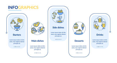 Restaurant menu vector infographic template. Full course meal presentation design elements. Data visualization with 5 steps. Process timeline chart. Workflow layout with linear icons