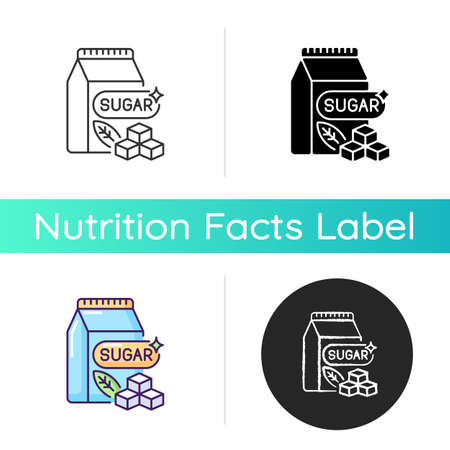 Sugars icon. Crystal cubes. Refined powder in packaging. Supermarket product. Saturated fat for bad dietary. Sweetener in food. Linear black and RGB color styles. Isolated vector illustrations