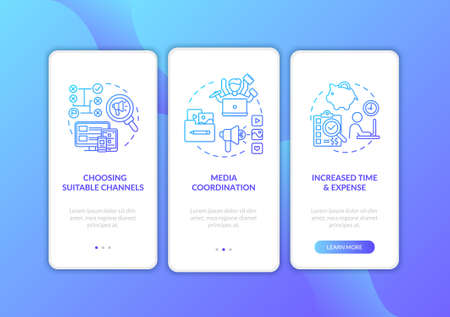 Marketing channel strategy onboarding mobile app page screen with concepts. Social media coordination walkthrough 3 steps graphic instructions. UI vector template with RGB color illustrations