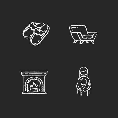 Cozyness mood chalk white icons set on black background. Family embrace. Danish hygge style. Wood burning fireplace. Sheepskin shearling slippers. Isolated vector chalkboard illustrations