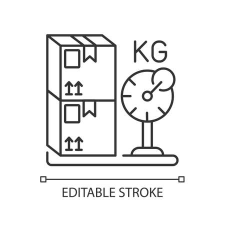 Cargo weight linear icon. Postal service, freight transportation thin line customizable illustration. Measuring parcels mass. Contour symbol. Vector isolated outline drawing. Editable stroke Illusztráció