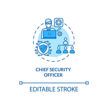 Chief security officer concept icon. Cybersecurity job idea thin line illustration. IT infrastructure. Threat and vulnerability management. Vector isolated outline RGB color drawing. Editable stroke
