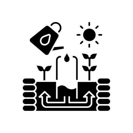Keyhole garden black glyph icon. Watering plants. Structure to cultivate vegetables. Soil irrigation for agricultural production. Silhouette symbol on white space. Vector isolated illustration