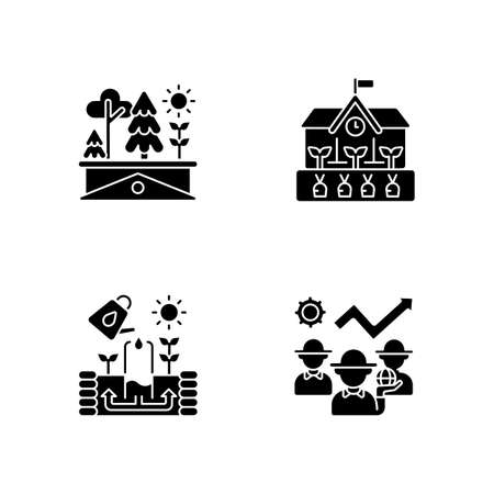 Community black glyph icons set on white space. Green roof. School gardening in backyard. Keyhole structure for cultivating plants. Watering crop. Silhouette symbols. Vector isolated illustration