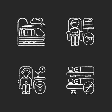 Luxury train service chalk white icons set on black background. Coach car, first class trip, free wi fi and sleeping car. Railroad travel with comfort. Isolated vector chalkboard illustrations