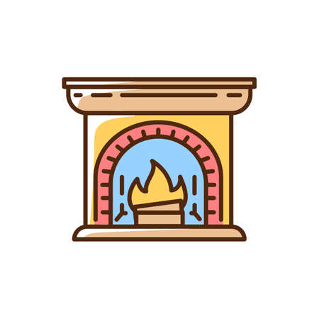 Wood burning fireplace RGB color icon. House decoration. Lares and penates. Warm feeling. Farmhouse style. Hearthstone. Life simple pleasure. Hyggelig mood. Isolated vector illustration