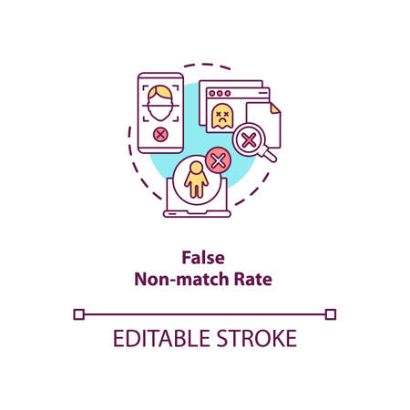 False non-match rate concept icon. Person identification failure. Database error. Verification troubles ideas idea thin line illustration. Vector isolated outline RGB color drawing. Editable stroke
