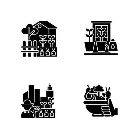 Hobby black glyph icons set on white space. Backyard garden. Watering plants in pots on windowsill. Healthy food from farmer market. Organic crop. Silhouette symbols. Vector isolated illustration