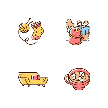 Hyggelig time RGB color icons set. Hand knitted socks. Hobby. Home cooking. Homemade food. Winter holiday drinks. Hot chocolate with marshmallows. Relaxing at home. Isolated vector illustrations