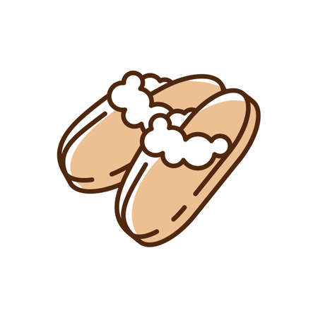 Sheepskin shearling slippers RGB color icon. Comfortable brown home shoes. Hygge style. Soft and plush things. Comfy knit bootie slippers. Coziness atmosphere. Isolated vector illustration Иллюстрация