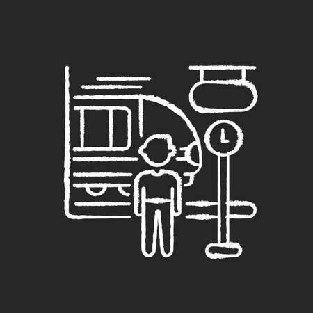 Commuter train chalk white icon on black background. Intercity railroad transportation, urban railway service. Passenger and arriving train at rail station isolated vector chalkboard illustration 일러스트