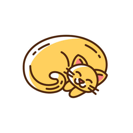 Curled up ginger cat RGB color icon. Cute domestic sleeping animal. Kitten napping. Hygge lifestyle. Little fluffy pet. Coziness mood. Sleepy soft kitty. Isolated vector illustration