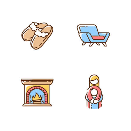 Cozyness mood RGB color icons set. Danish hyggelig style. Family embrace. Home time. Wood burning fireplace. Mother and child. Sheepskin shearling slippers. Isolated vector illustrations