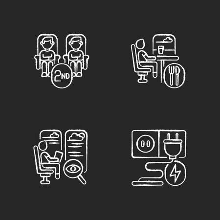 Economy class train services chalk white icons set on black background. Second class seats, charging sockets, observation and dining cars. Affordable travel. Isolated vector chalkboard illustrations