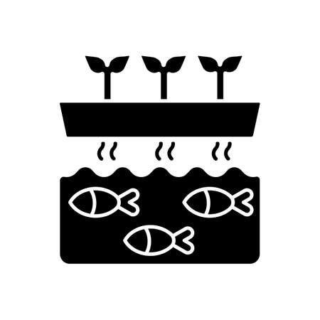 Aquaponics black glyph icon. Fish tank with water. Drain drip to tunk for nourishment. Hydroponic production. Agricultural business. Silhouette symbol on white space. Vector isolated illustration