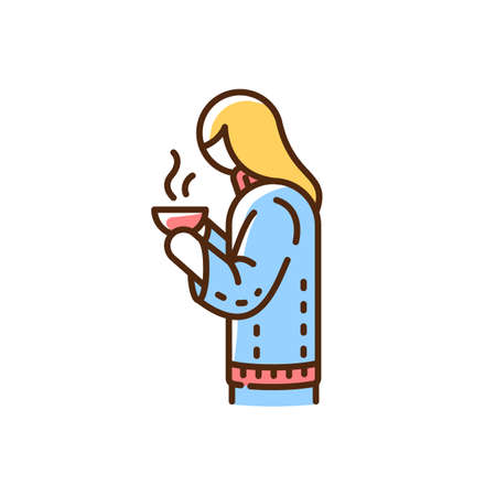 Girl with hot drink in mug RGB color icon. Calm atmosphere enjoying. Blonde woman in cozy blue sweater. Hyggelig lifestyle. Life simple pleasures. Winter warm drink. Isolated vector illustration