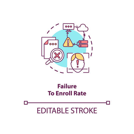 Failure to enroll rate concept icon. Invalid input data into database. Biometric system troubles ideas idea thin line illustration. Vector isolated outline RGB color drawing. Editable stroke