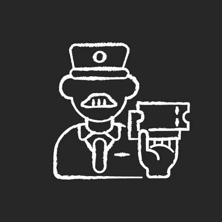 Ticket inspector chalk white icon on black background. Train travel, railroad transportation service. Railway company worker, controller checking tickets isolated vector chalkboard illustration