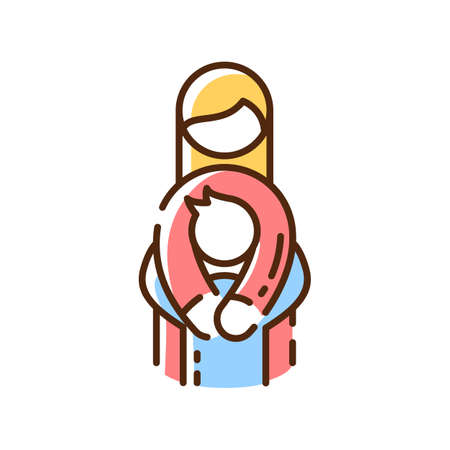 Family relationships RGB color icon. Mother and child. Embracing each other. Maternal bond. Raising children. Adoption. Hygge lifestyle. Contentment mood. Isolated vector illustration