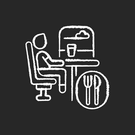 Dining car chalk white icon on black background. Traveling with comfort, train restaurant. Train service, onboard buffet. Passenger eating meal on trip isolated vector chalkboard illustration Иллюстрация