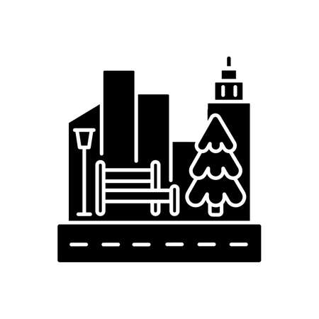 Street landscaping black glyph icon. City sidewalk. Public park. Growing tree. Nature in urban district. Skyscrapers with traffic. Silhouette symbol on white space. Vector isolated illustration