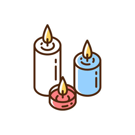 Candlelight RGB color icon. Atmosphere changing. Hygge element. Romantic mood. Home decoration. Burning white, blue, red candles. Lighting. Celebratory atmosphere. Isolated vector illustration