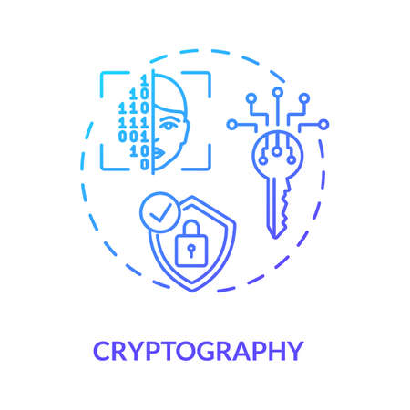 Cryptography concept icon. Encryption, decryption. Secure communications techniques idea thin line illustration. Secret-key, public key, hash function. Vector isolated outline RGB color drawing