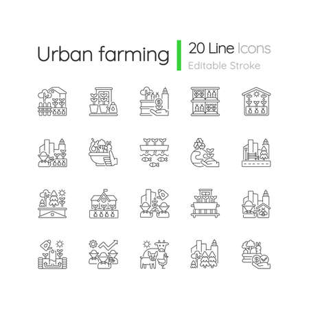 Urban farming linear icons set. Backyard garden. Environmental improvement. Street landscaping. Customizable thin line contour symbols. Isolated vector outline illustrations. Editable stroke Stock Illustratie