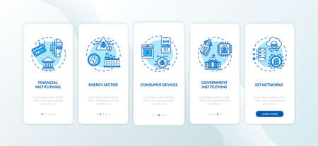 Systems at risk onboarding mobile app page screen with concepts. Financial institutions, energy sector walkthrough 5 steps graphic instructions. UI vector template with RGB color illustrations