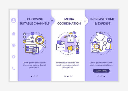 Multichannel marketing onboarding vector template. Suitable channels selection, media coordination. Responsive mobile website with icons. Webpage walkthrough step screens. RGB color concept