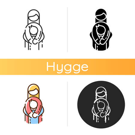 Family relationships icon. Mother and child. Embracing each other. Raising children. Hygge lifestyle. Contentment mood. Linear black and RGB color styles. Isolated vector illustrations