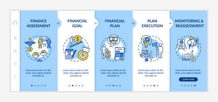Financial planning process onboarding vector template. Budget goal. Wealthy life. Money plan. Responsive mobile website with icons. Webpage walkthrough step screens. RGB color concept Ilustração