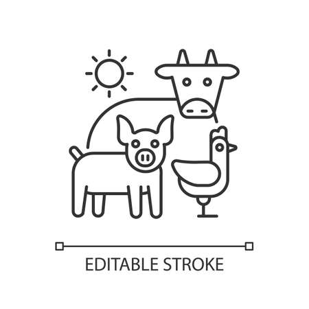Animal husbandry linear icon. Farm livestock. Breeding cattle. Farmland production. Thin line customizable illustration. Contour symbol. Vector isolated outline drawing. Editable stroke