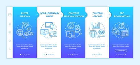Digital marketing strategy onboarding vector template. Consumers, focus groups, ppc marketing. Responsive mobile website with icons. Webpage walkthrough step screens. RGB color concept Vektorové ilustrace
