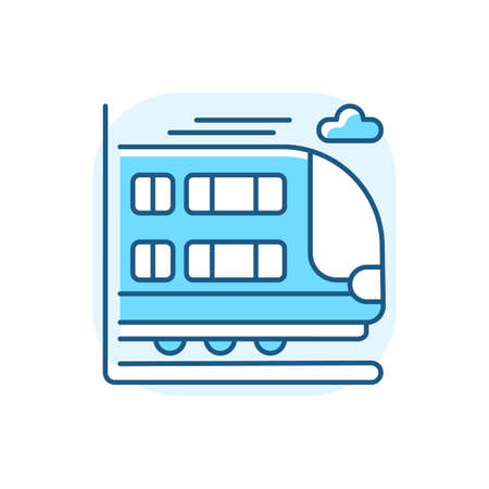 Bilevel train blue RGB color icon. Double decker rail car. Modern railway transport ,. Large commuter train. Railroad vehicle with two levels isolated vector illustration