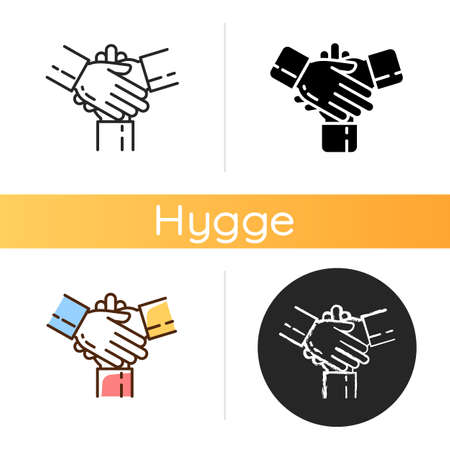 Friendly cooperation icon. Welcoming atmosphere. Unity, teamwork, partnership. Work in group. Family support. Problem solving. Linear black and RGB color styles. Isolated vector illustrations