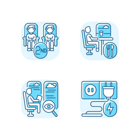 Economy class train services blue RGB color icons set. Second class seats, charging sockets, observation and dining cars. Affordable travel. Isolated vector illustrations