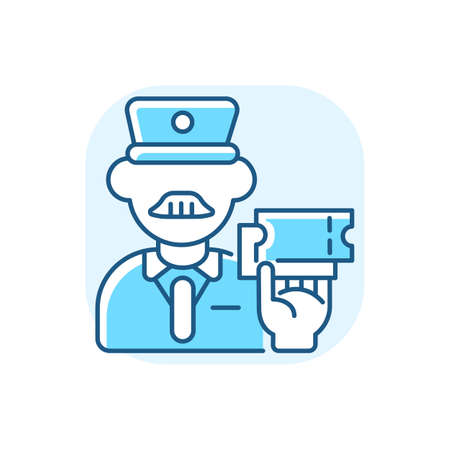 Ticket inspector blue RGB color icon. Train travel, railroad transportation service. Railway company worker, controller checking tickets isolated vector illustration