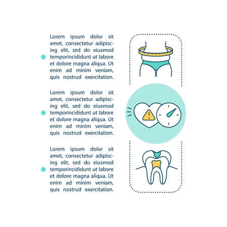 Energy drinks risks concept icon with text. Adiposity, arrhythmia and ruin teeth. PPT page vector template. Brochure, magazine, booklet design element with linear illustrations