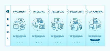 Financial literacy application onboarding vector template. Investment, insurance, real estate, college fees. Responsive mobile website with icons. Webpage walkthrough step screens. RGB color concept