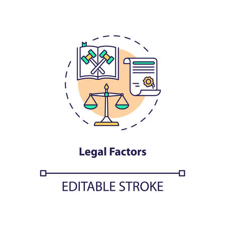 Legal factors concept icon. Communication life saving tips. PESTEL analysis. Business target idea thin line illustration. Vector isolated outline RGB color drawing. Editable stroke