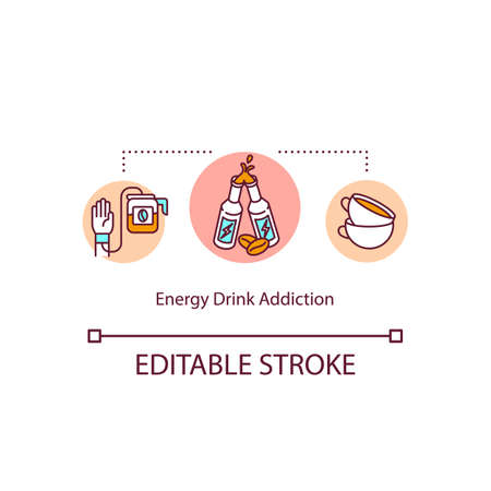 Energy drinks daily addiction concept icon. Caffeine overdose. Coffee addict. Side effect idea thin line illustration. Vector isolated outline RGB color drawing. Editable stroke