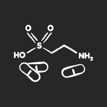 Taurine chalk white icon on black background. Scientific formula for organic compound. Energy drink supplement. Pharmaceutical additive. Atomic bond. Isolated vector chalkboard illustration