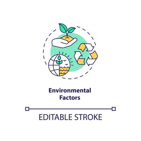 Environmental factors concept icon. PESTEL analysis. Cooperation with one goal. Communication troubles idea thin line illustration. Vector isolated outline RGB color drawing. Editable stroke