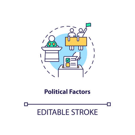 Political factors concept icon. PESTEL analysis. Communication issues. Politician business problems idea thin line illustration. Vector isolated outline RGB color drawing. Editable stroke