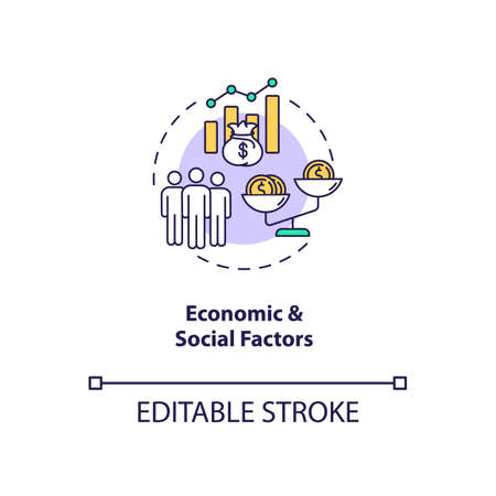 Economic and Social factors concept icon. PESTEL analysis. Teamwork stops upgrading. Communication strategy idea thin line illustration. Vector isolated outline RGB color drawing. Editable stroke